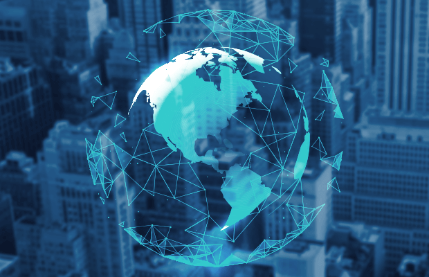 Een wereldbol die een netwerk van wereldwijde connecties laat zien.