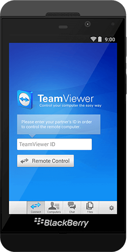TeamViewerを使用してBlackBerryに発信リモート接続