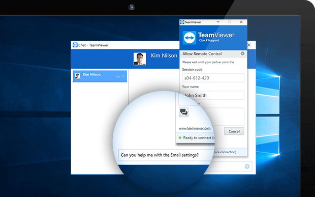 A TeamViewer QuickSupport module with activated Service Case Chat.